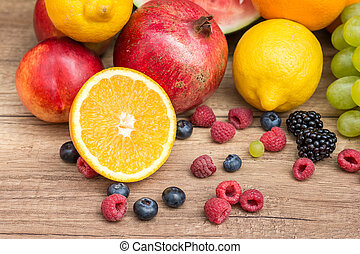 Healthy Tropical Fruits On Wood Table