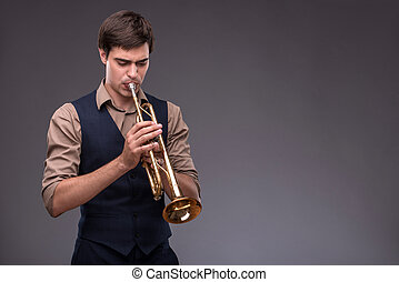 Handsome young jazz man - Waist-up portrait of a handsome...