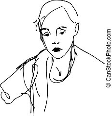 sketch of a girl with a scarf - black and white sketch of a...
