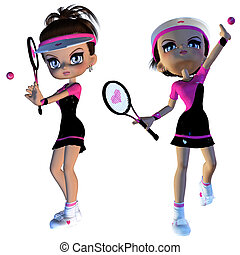 Cartoon Tennis Player - Digitally rendered illustration of a...