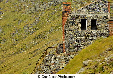Ruins on the high mountains - Old ruined construction in...