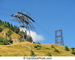 Pylon of cablecar in high mountains - Pylon of cablecar in...
