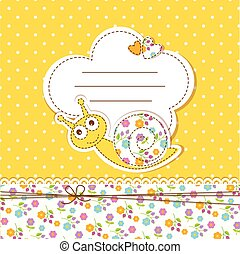 Baby shower with snail - Cute baby background with funny...