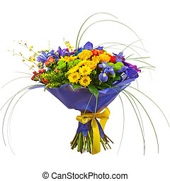 Bouquet from Orchids, Roses and Gerbera Flowers Isolated on...