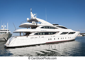 Luxury yacht in the sport port of Santa Pola on May 2, 2013...