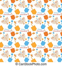 pattern with Hanukkah symbols - colorful pattern with...