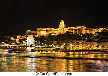 Night view of Chain bridge and royal palace in Budapest, Hungary