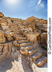 staircase hewn in the rock gorges in the Negev desert