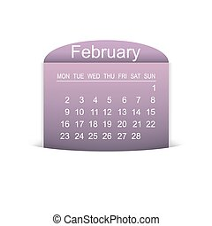 Calendar February 2015. Vector illustration. Design element.