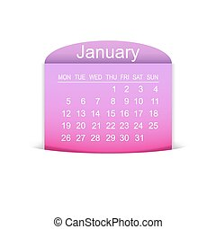 Calendar January 2015. Vector illustration. Design element.