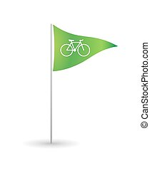 Flag with a bicycle - Illustration of an isolated flag with...