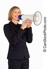 Mature businesswoman with a megaphone