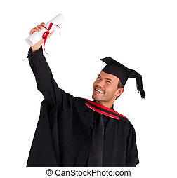 Closeup of a boy celebrating his graduation - Closeup of an...