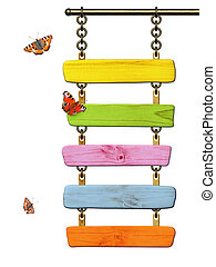 Wooden signboard and butterflies. Object isolated on white...