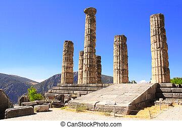 Ruins of Temple of Apollo in Delphi, Greece - Ruins of...