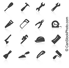 Set of construction tools icons. Vector illustration