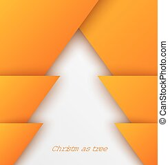 Orange abstract christmas tree paper applique Vector...