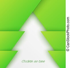 Green abstract christmas tree paper applique