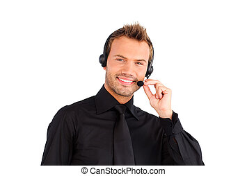 Smiling customer service representative man - Customer...