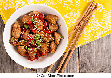 Pork with vegetables in asian style - Pork stir fry with...