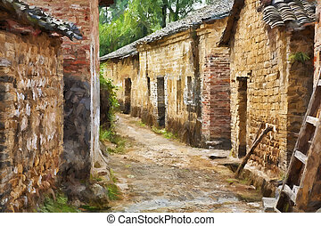 Impressionist art of Jiangtou Ancient Village China - A...
