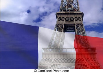 French flag on a background of the Eiffel Tower. NTSC
