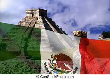 Mexican flag on a background of the Pyramid. NTSC
