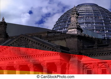 German flag on a background Reichstag. NTSC