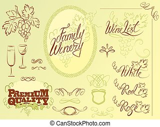Set of wine design elements for bar or restaurant - signs, icons