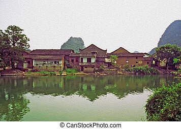 oil painting stylized photo of Ancient Chinese village -...