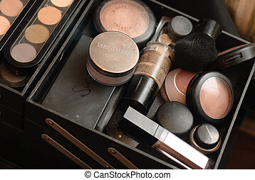 Set of professional make-up palette and cosmetic