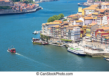 ancient Town of Porto along douro river