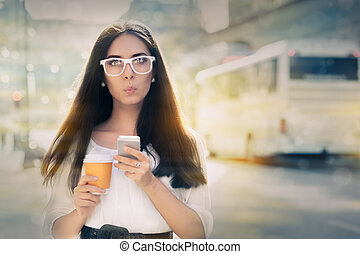 Surprised  Woman Holding Phone