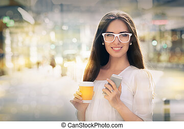 Woman with glasses out in the city - Beautiful smiling woman...