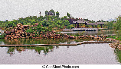 oil painting stylized photo of Chinese garden pond - generic...