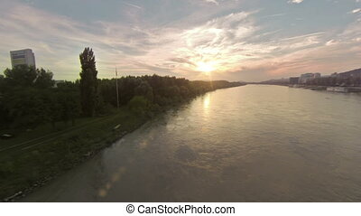 Sunset over danube aerial footage - Aerial drone footage
