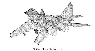 Fighter Plane model, body structure, wire model