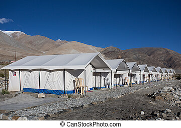 Tented tourist camp on lake pangong, Ladakh, India
