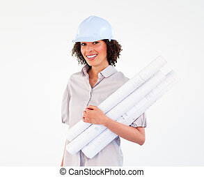 Brunette architect woman with plans and hard-hats -...