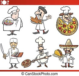international cuisine chefs cartoons - Cartoon Illustration...
