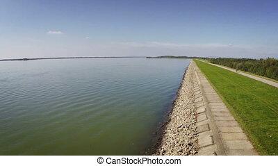 Slovakia Gabcikovo danube dam - Aerial drone footage