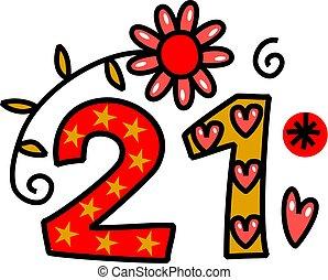 Number Twenty One Doodle Text - Hand drawn cartoon doodle...