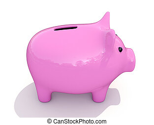 Piggy bank - Shiny pink piggy bank on a white background