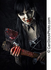 muerto, hembra, zombi, sangriento, hacha