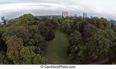 In the park aerial footage - Aerial drone footage