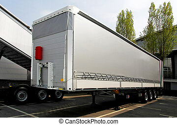 Lorry trailer - Close up shot of silver lorry trailer