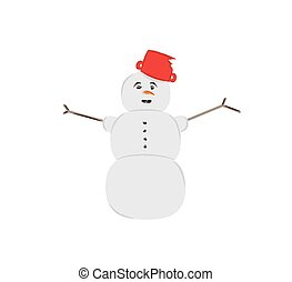 snow man on white background, isolated, vector