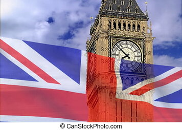 England flag on a background bigben NTSC