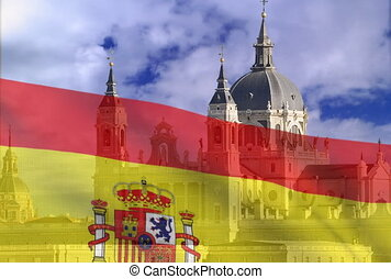 Spanish flag on a background of sky The Cathedral ALmudena...
