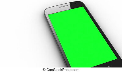 Smart phone isolated with chroma and tracking points - 3D...